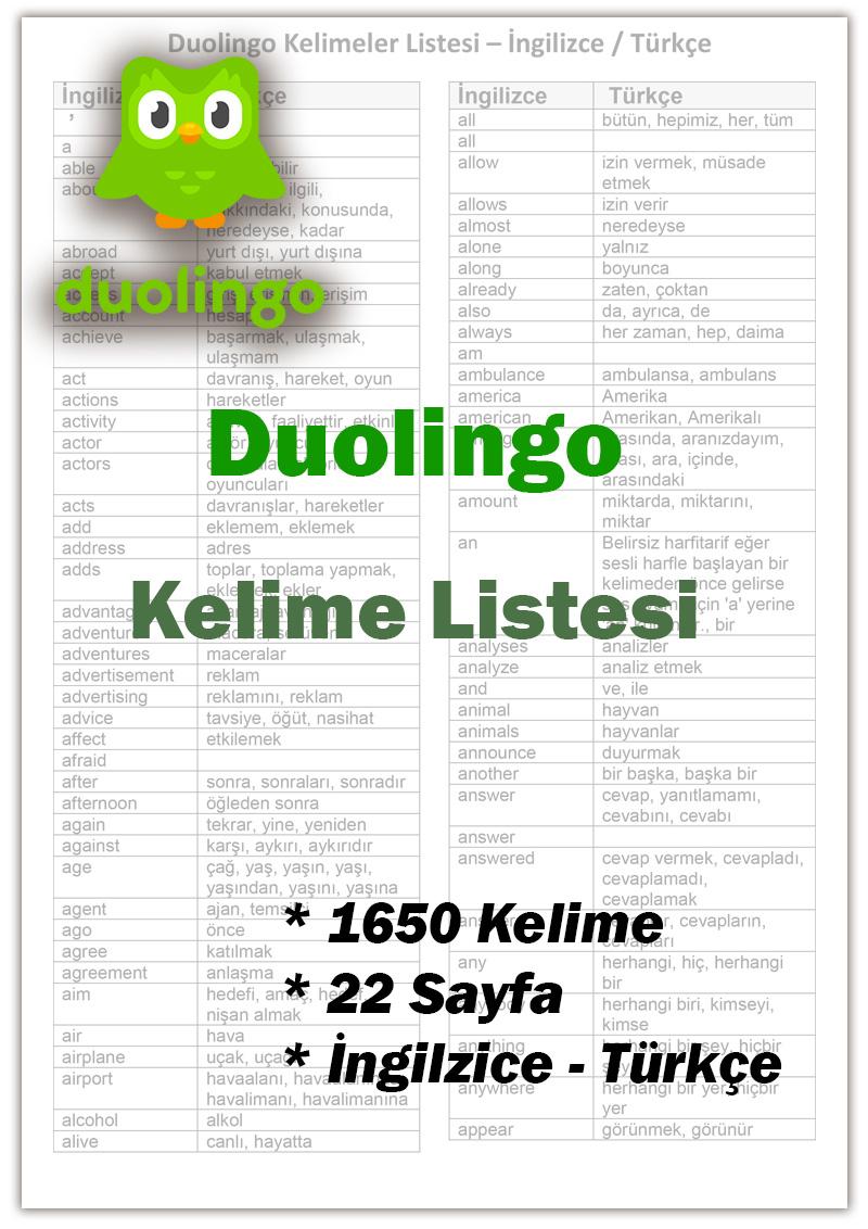 Duolingo Kelimeler Listesi – İngilizce-Türkçe